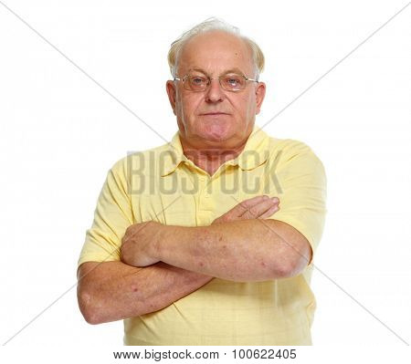 Aged man portrait isolated on white background.