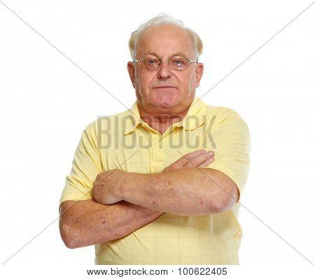 Aged man portrait isolated on white background.
