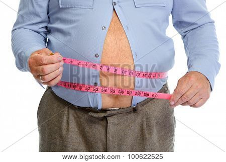 Fat man belly with measuring tape. Lose weight concept.