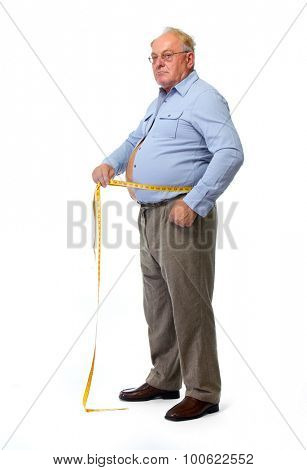 Senior man measuring waist with a tape. Lose weight concept.