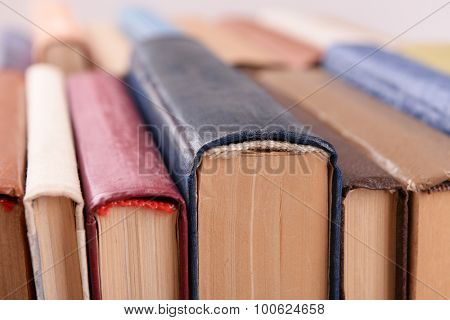 Heap of books close up
