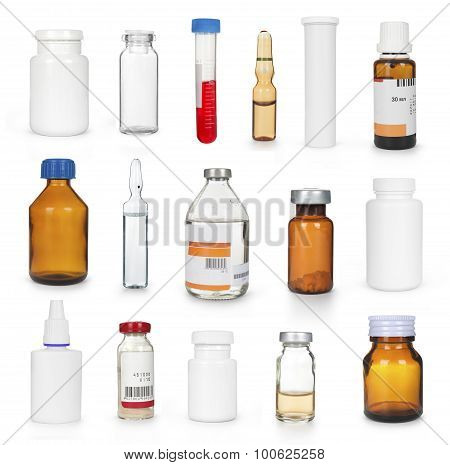 Medical Bottles And Ampules Collection Isolayed
