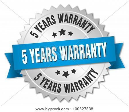 5 Years Warranty 3D Silver Badge With Blue Ribbon