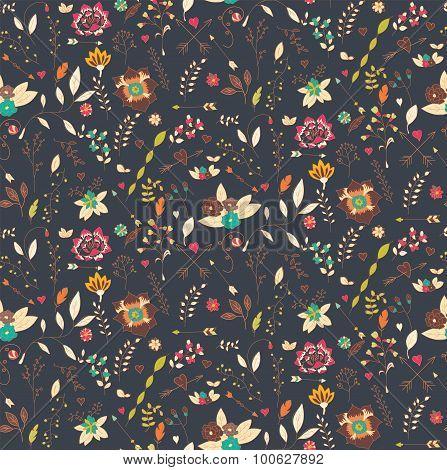 Bohemian Hand Drawn Flowers, Seamless Pattern