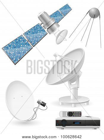 Set Icons Satellite Broadcasting Vector Illustration