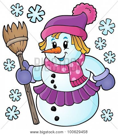 Winter snow woman topic image 1 - eps10 vector illustration.
