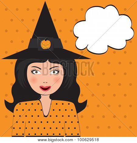 Pop Art Beautiful Witch with copy space. Vector illustration.