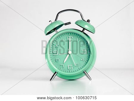Green analog retro twin bell alarm clock