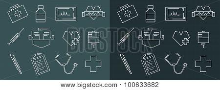 Medical Line Art Icons Set