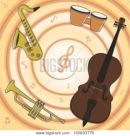 Set Of Jazz Instruments