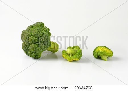 portioned head of green broccoli