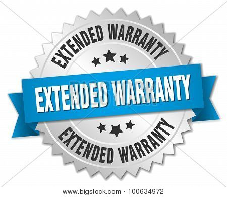 Extended Warranty 3D Silver Badge With Blue Ribbon