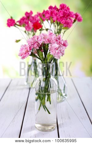 Beautiful bouquet of pink carnation in vases on bright background