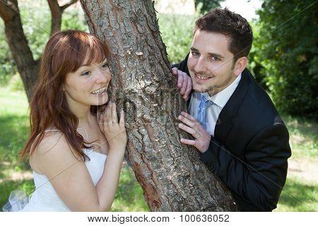Newly Lovely Wedding Couple Happy