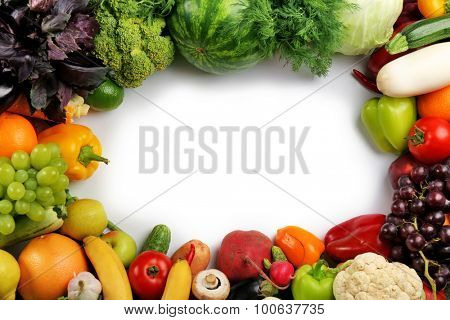 Heap of fruits and vegetables close up