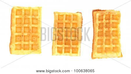Sweet homemade waffles isolated on white