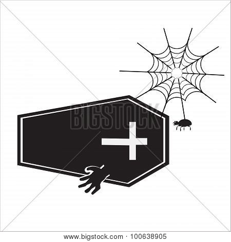Ghost With Casket Halloween Sign Vector Illustration