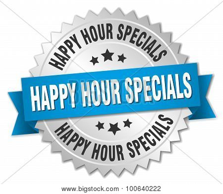 Happy Hour Specials 3D Silver Badge With Blue Ribbon