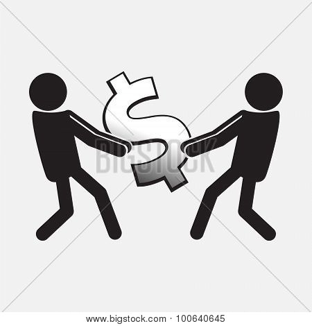 Two Man Pulling A Money Symbolt Illustration