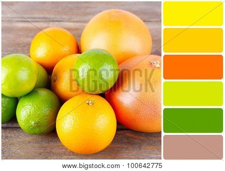 Fresh fruits on table and palette of colors
