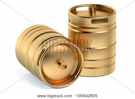 Beer Golden Kegs Closeup