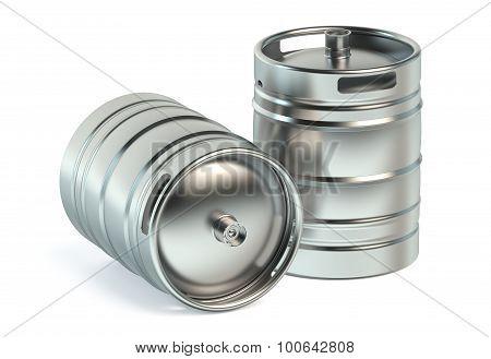 Beer Metallic Kegs Closeup