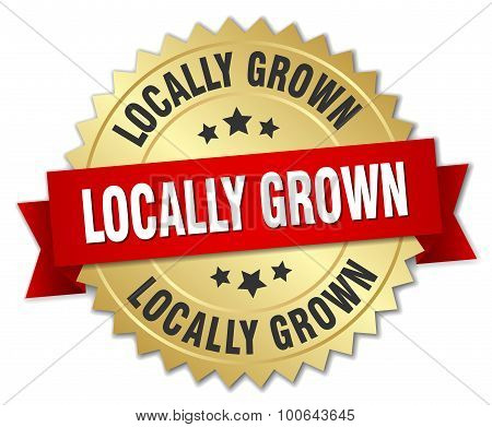 Locally Grown 3D Gold Badge With Red Ribbon