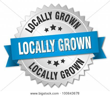 Locally Grown 3D Silver Badge With Blue Ribbon