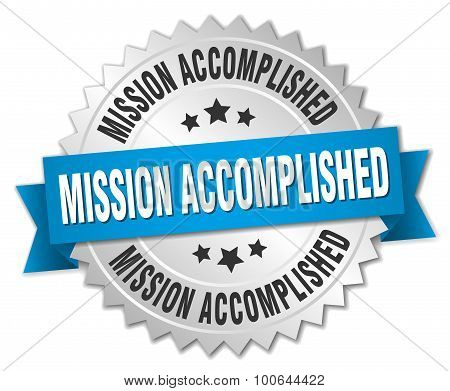 Mission Accomplished 3D Silver Badge With Blue Ribbon