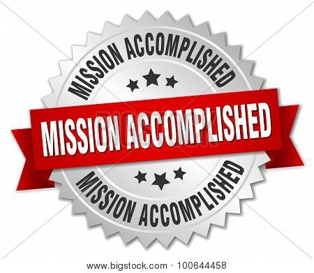 Mission Accomplished 3D Silver Badge With Red Ribbon