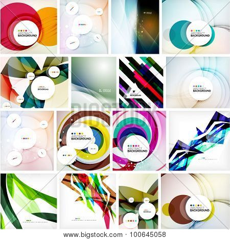 Set of abstract backgrounds. Circles, swirls and waves with copy space for your message. Banner advertising layouts - templates, identity and wallpapers