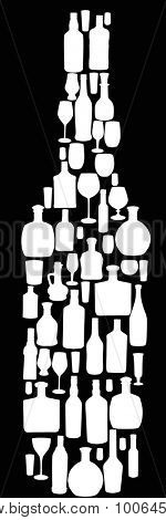 illustration with different glass and bottles on black background