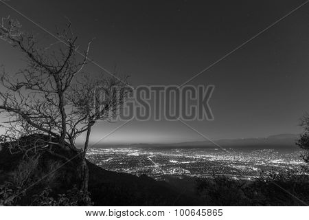 Mountain top night view of Burbank and North Hollywood, California.