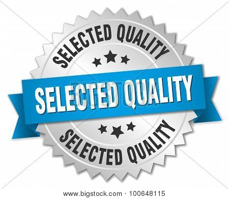 Selected Quality 3D Silver Badge With Blue Ribbon