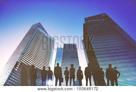 Business People Looking Up Vision Success Concept