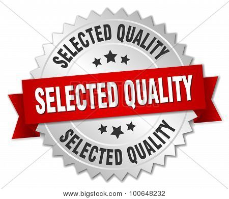 Selected Quality 3D Silver Badge With Red Ribbon