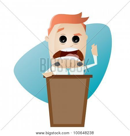 businessman or politician is giving a stirring speech