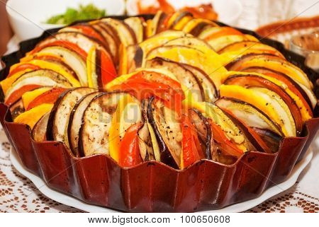 Delicious appetizing, just cooked dish ratatouille. close-up