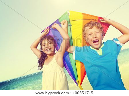 Children Playing Kite Happiness Cheerful Beach Summer Concept