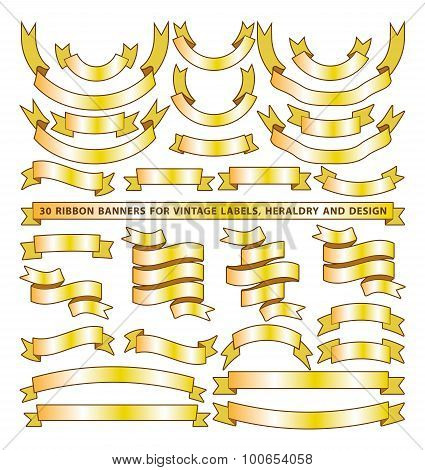 Set of thirty golden yellow vector banner ribbons