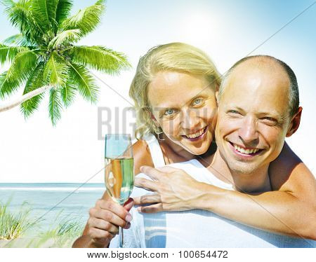 Honeymoon Couple Summer Beach Dating Concept
