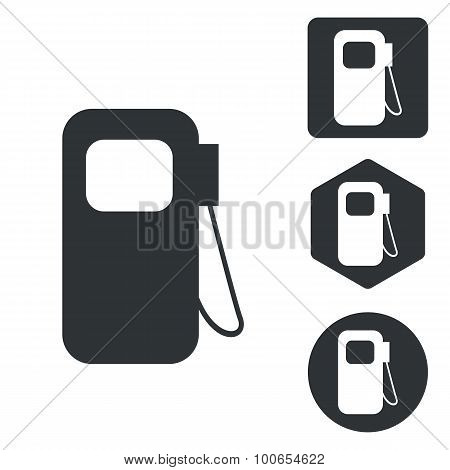 Gas pump icon set, monochrome