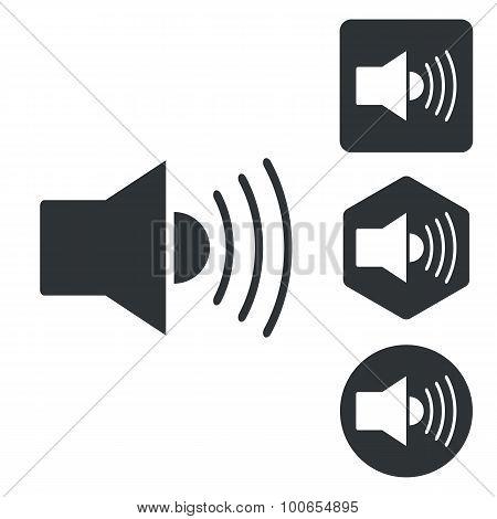Loudspeaker icon set, monochrome