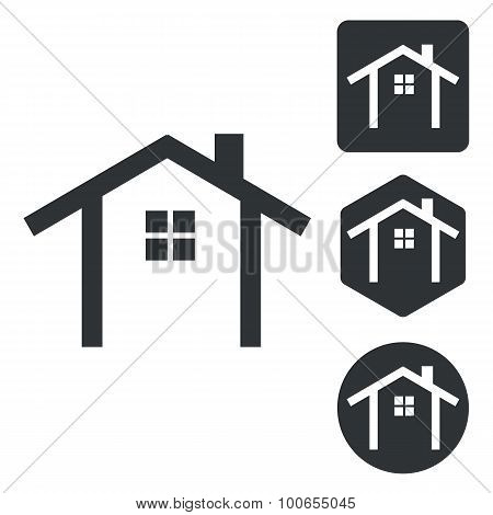 Cottage icon set, monochrome
