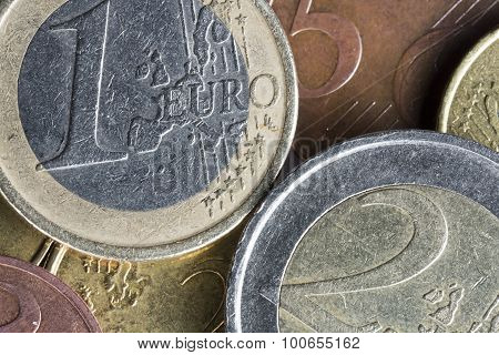 Euro Coins On Top Of Each Other