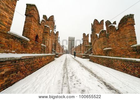 Scaligero Bridge In Winter - Verona Italy