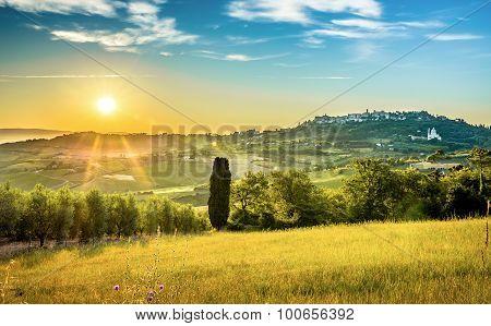 Sunrise Over Tuscan Landscape