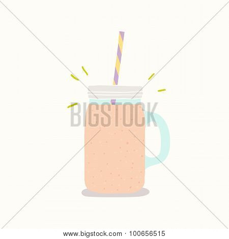 Vector hand drawn smoothie jar with handle