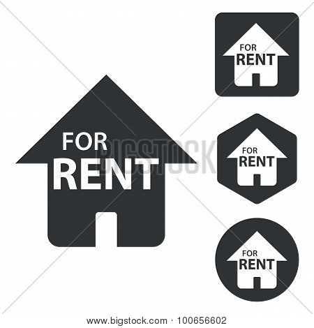 Rental house icon set, monochrome