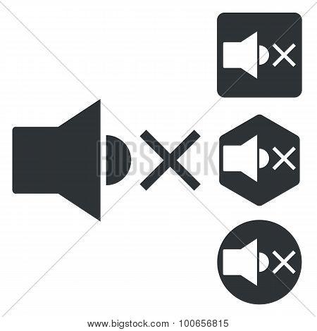 Muted sound icon set, monochrome
